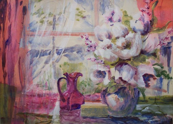 """24: WATERCOLOR/COLLAGE, """"WINDOW ON SPRING"""", BARBERIS"""