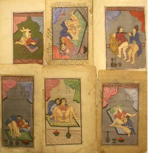 81: LOT (6) PAGES PERSIAN EROTIC MINIATURES