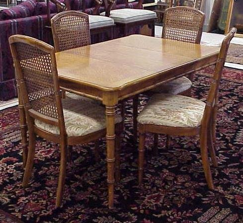 SET OAK FAUX BAMBOO DINING TABLE CHAIRS