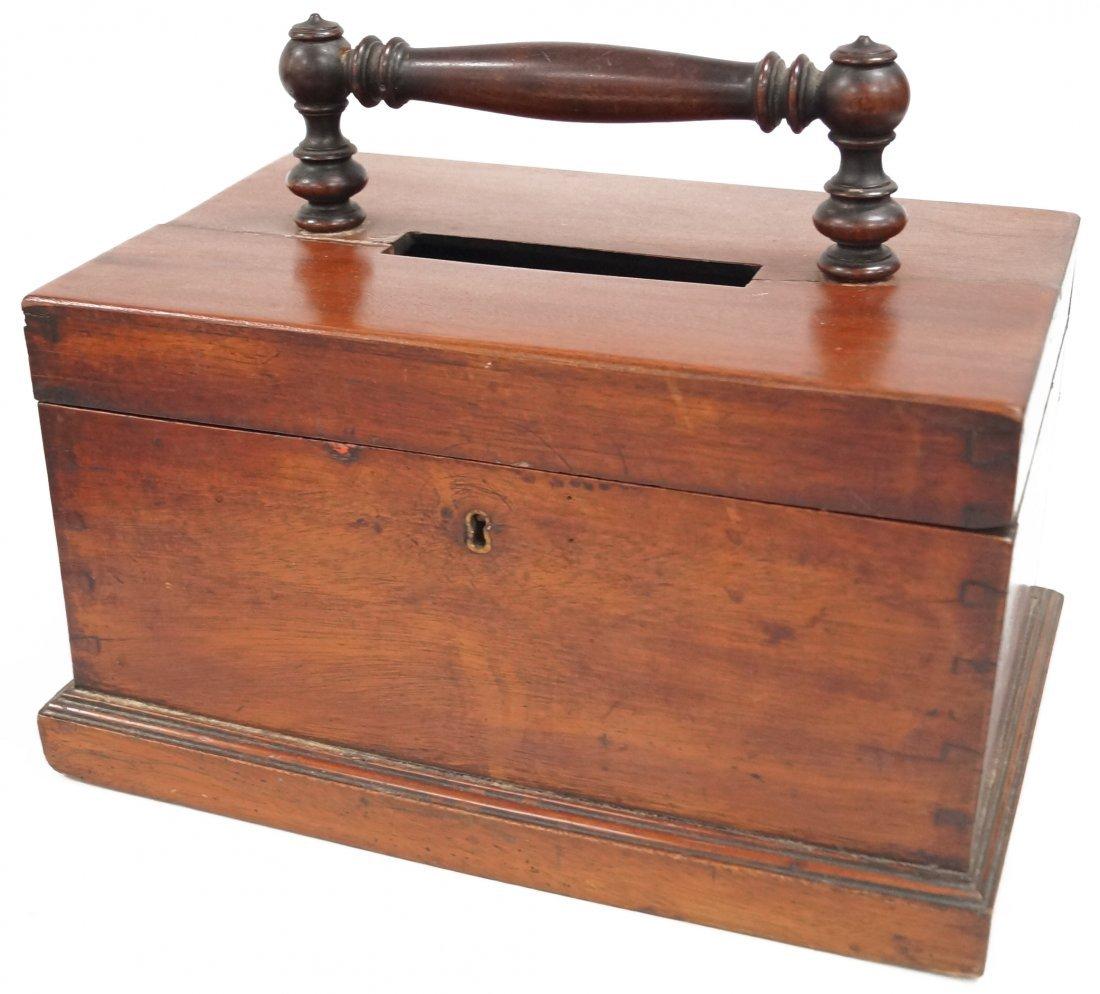"""MAHOGANY BALLOT BOX, 19TH CENTURY. HEIGHT 10 1/2"""";"""