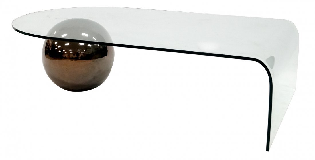 MID-CENTURY MODERNIST CURVED GLASS COFFEE TABLE WITH