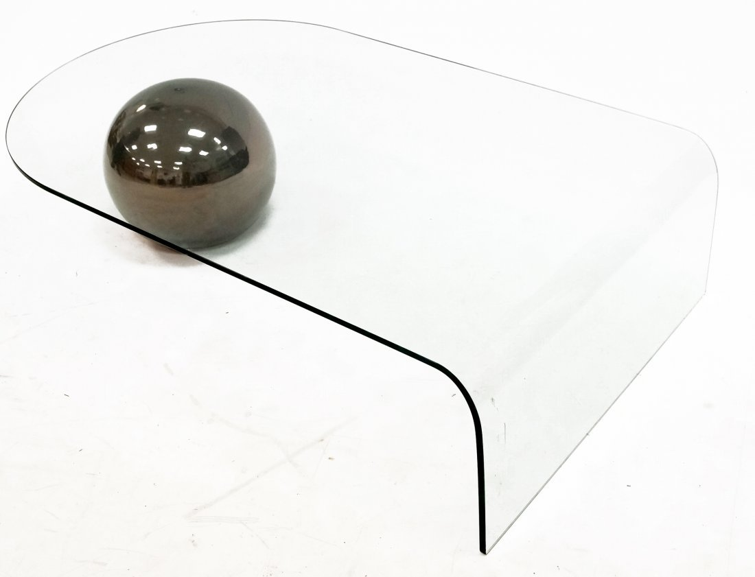 MID-CENTURY MODERNIST CURVED GLASS COFFEE TABLE WITH - 2