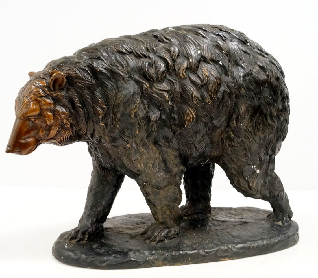 "BRONZE FIGURE OF A GRIZZLY BEAR. HEIGHT 12""; LENGTH 15"""