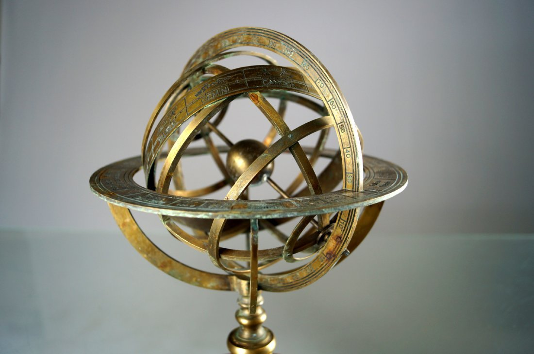 "BRASS ARMILLARY GLOBE. HEIGHT 11""; DIAMETER 7 1/2"" - 2"