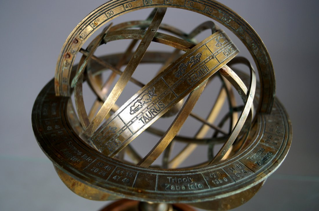 "BRASS ARMILLARY GLOBE. HEIGHT 11""; DIAMETER 7 1/2"" - 3"