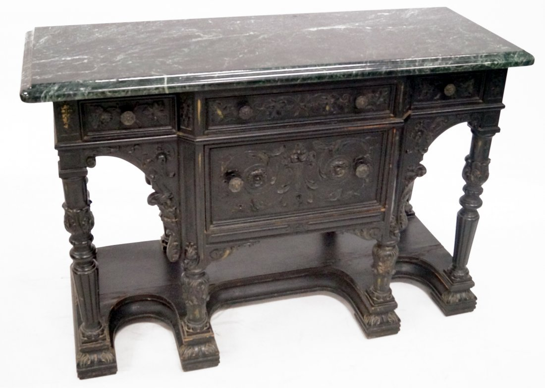 RENAISSANCE REVIVAL CARVED AND EBONIZED SERVER WITH
