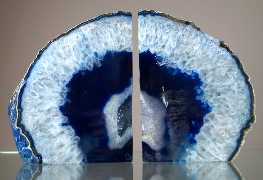 PAIR GEODE QUARTZ SPECIMEN BOOK ENDS. HEIGHT 9""