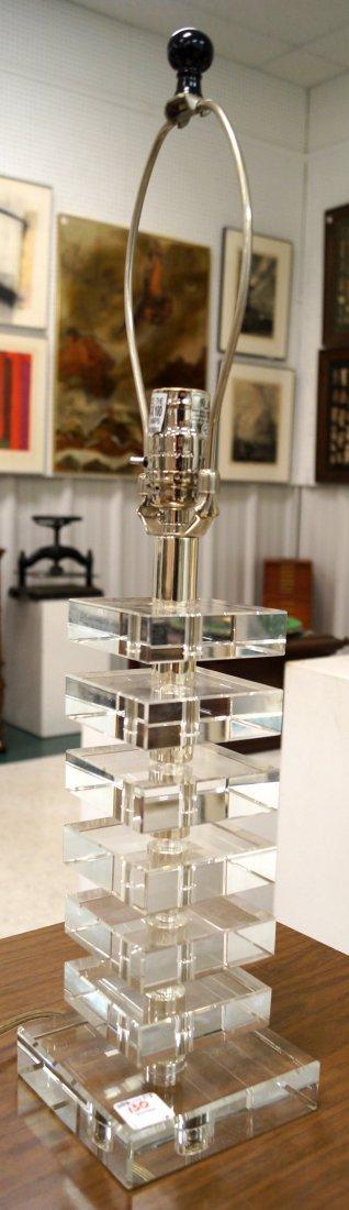 "DESIGNER LUCITE TABLE LAMP. HEIGHT 24"""