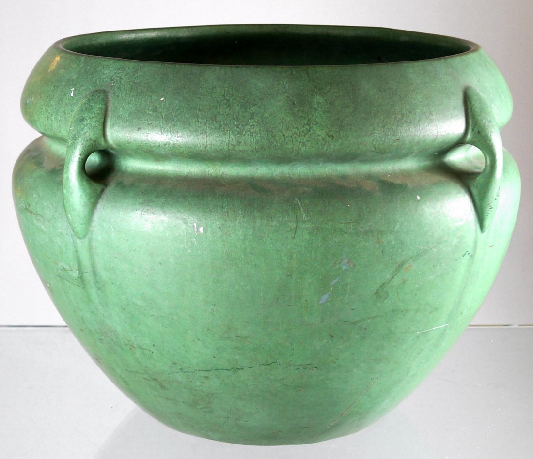 MATTE GREEN GRUEBY STYLE POTTERY JARDINIERE, INCISED