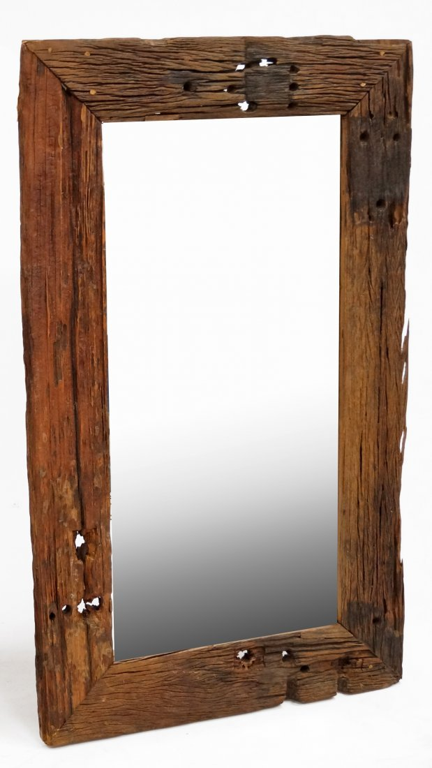 CUSTOM MADE DISTRESSED/RECLAIMED WOOD FRAMED MIRROR. 60