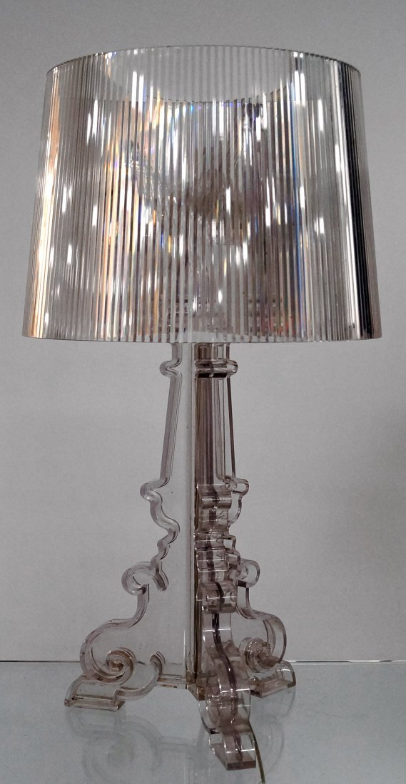 KARTELL LUCITE TABLE LAMP, SIGNED. HEIGHT 28""