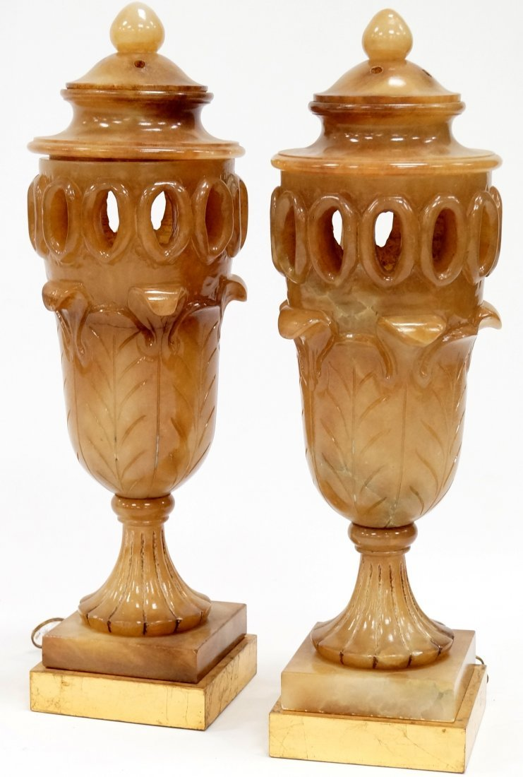 PAIR URN-FORM CARVED ALABASTER LAMPS. HEIGHT 28""