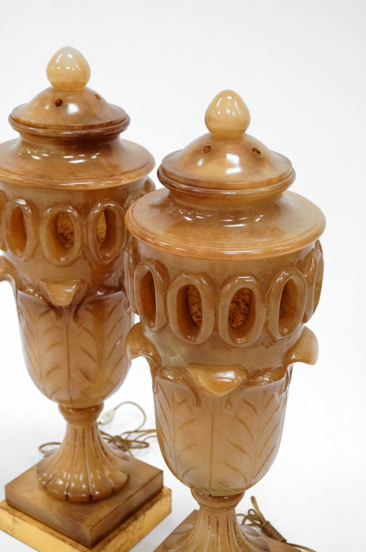 "PAIR URN-FORM CARVED ALABASTER LAMPS. HEIGHT 28"" - 2"