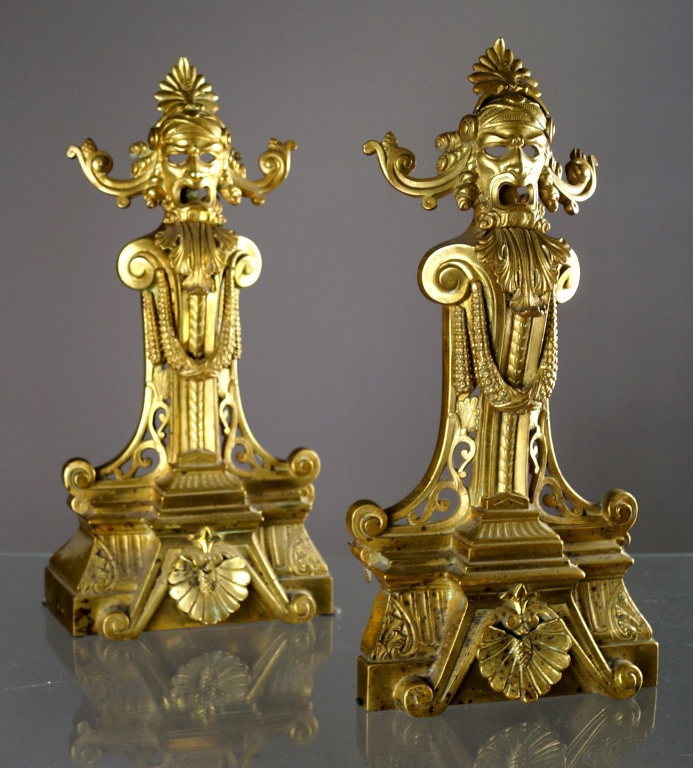 PAIR FRENCH GILT BRONZE ANDIRON FRONTS, 19TH CENTURY.