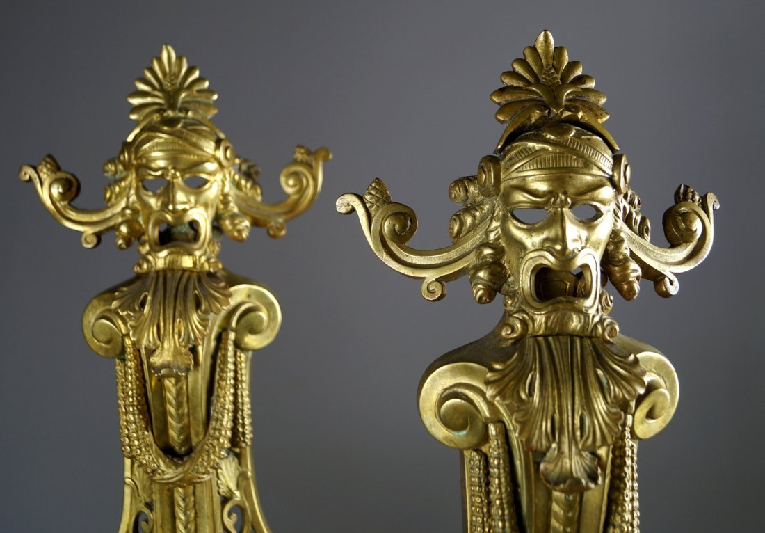 PAIR FRENCH GILT BRONZE ANDIRON FRONTS, 19TH CENTURY. - 2