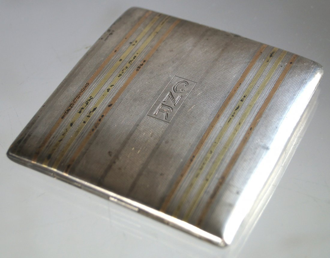 VINTAGE STERLING AND 14K INLAID CIGARETTE CASE,