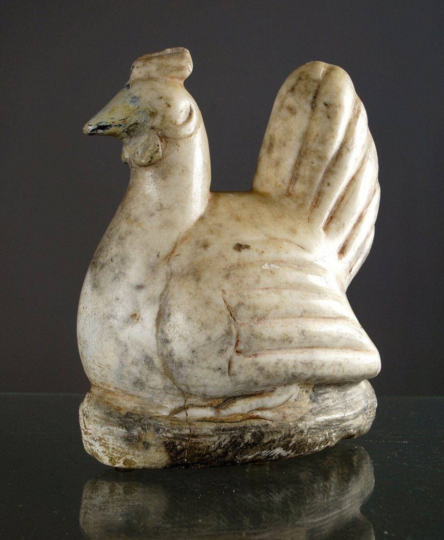 """FOLK ART CARVED MARBLE ROOSTER. HEIGHT 9"""""""