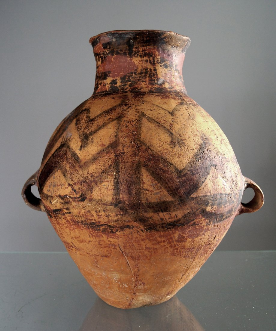CHINESE NEOLITHIC AND BAN CH'ING DECORATED POTTERY JAR.
