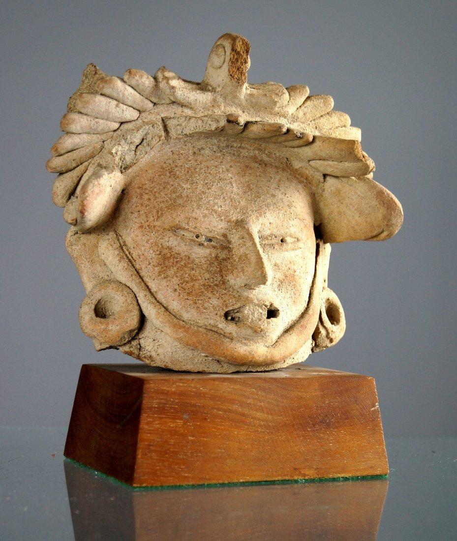 TOTONAC (VERACRUZ) TERRA COTTA FIGURAL HEAD, CLASSIC