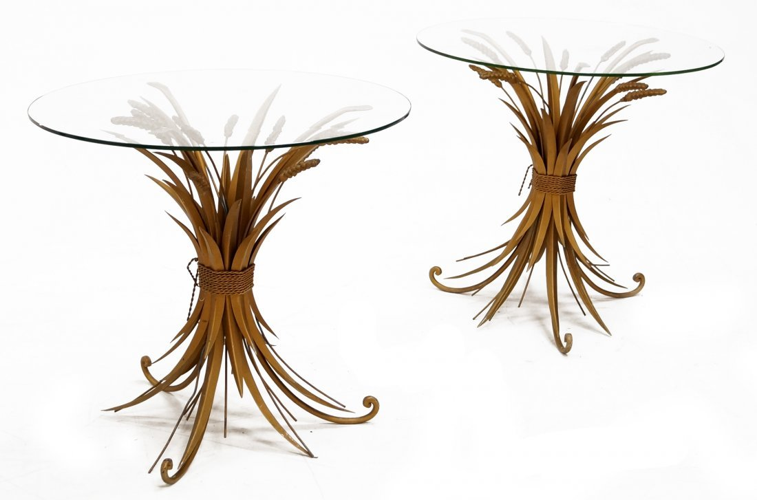 PAIR MID-CENTURY GILT METAL WHEAT SHEAF BASE AND PLATE