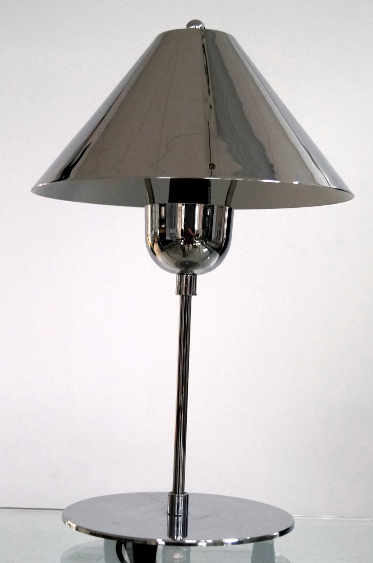 DESIGNER MODERN CHROME STEEL DESK LAMP. HEIGHT 16""