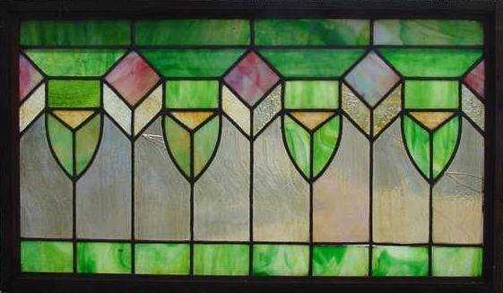 6: ARTS & CRAFTS STAIN/SLAG GLASS WINDOW