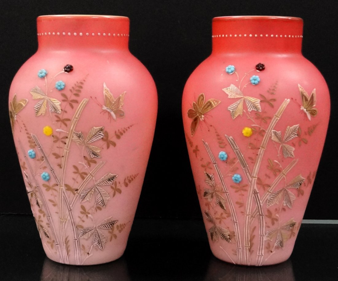 PAIR ANTIQUE PEACH BLOW GILT, ENAMELED AND JEWELED