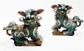 PAIR CHINESE GLAZED STONEWARE FOO DOGS HEIGHT 20