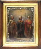 FINE RUSSIAN ICON ON WOOD PANEL THREE SAINTS WITH