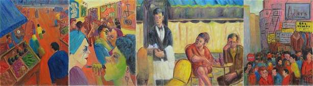 LOT (4) AMERICAN SCHOOL, OIL ON CANVAS, CAFE SOCIETY