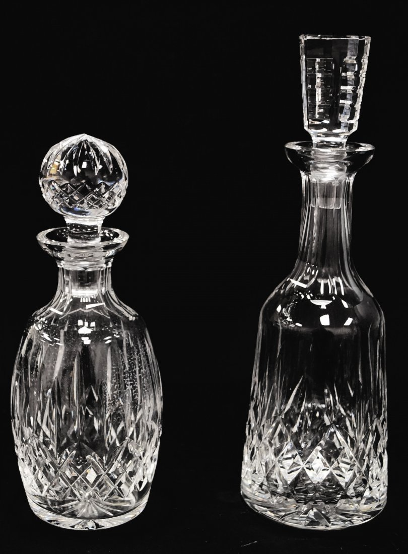 """LOT (2) WATERFORD CRYSTAL DECANTERS. HEIGHT 10 1/2"""" &"""