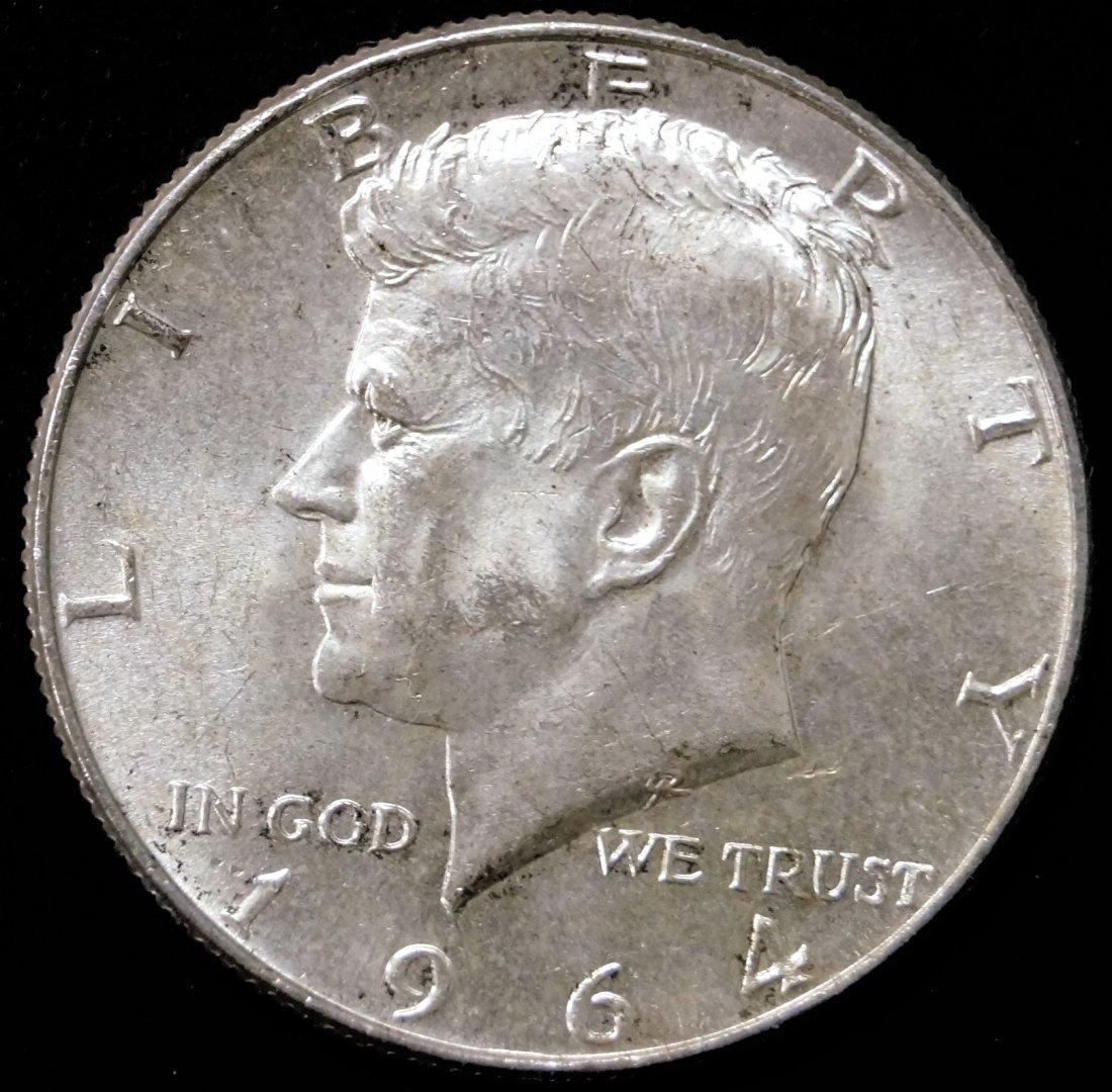 LOT (53) 1964 KENNEDY SILVER HALF DOLLAR COINS