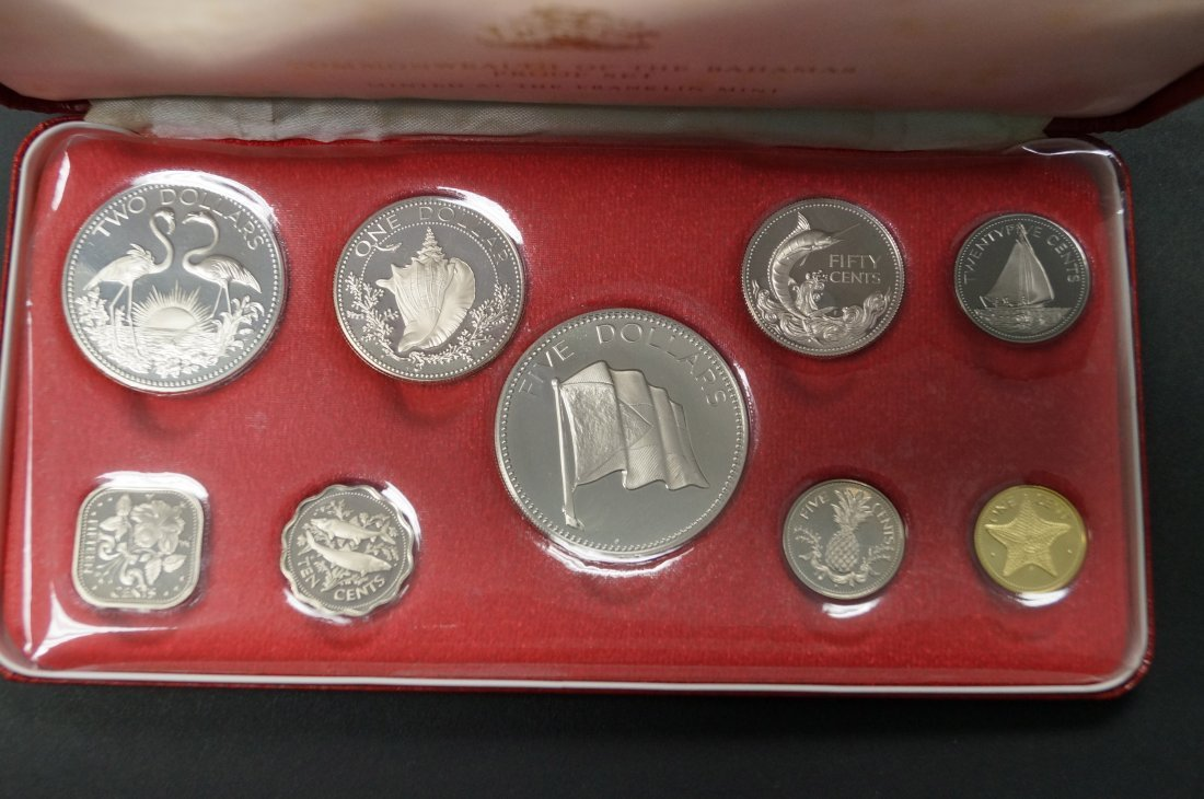 1974 BAHAMAS 9-COIN PROOF SET (4 SILVER COINS, 2.88