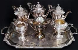 GORHAM SILVER PLATE 6-PIECE TEA SERVICE, MONOGRAMMED,