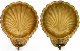 PAIR BRASS REPOUSSE SHELLFORM SCONCES HEIGHT 14