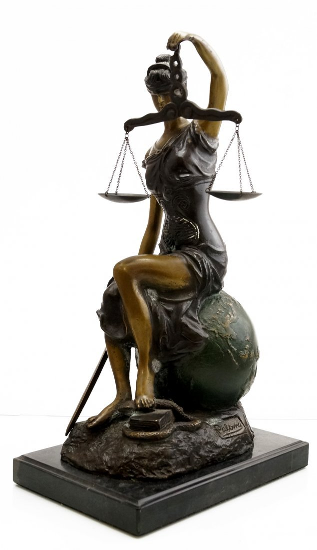 "POLYCHROMED FIGURE OF ""BLIND JUSTICE"", SIGNED PALOMA,"