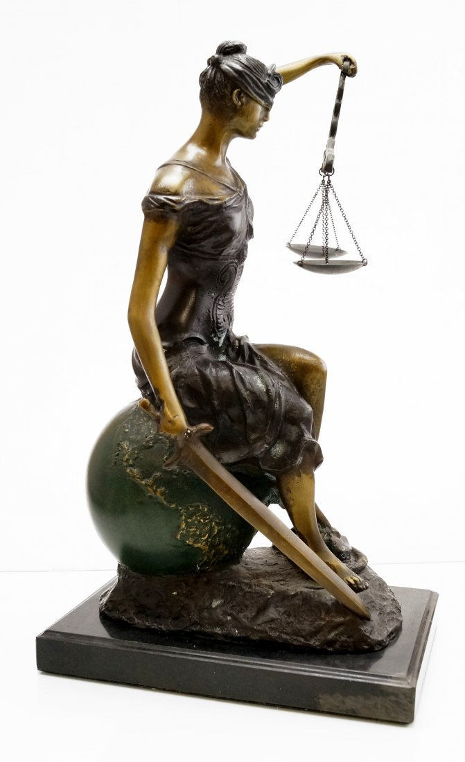 "POLYCHROMED FIGURE OF ""BLIND JUSTICE"", SIGNED PALOMA, - 2"