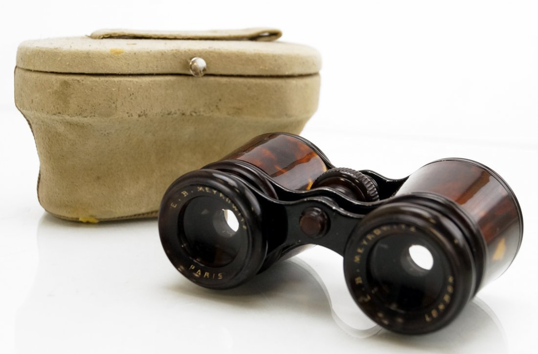 PAIR E.B. MEYROWITZ TORTOISE OPERA GLASSES WITH CASE