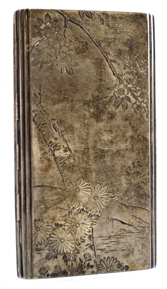 JAPANESE ENGRAVED STERLING SILVER CIGARETTE CASE,