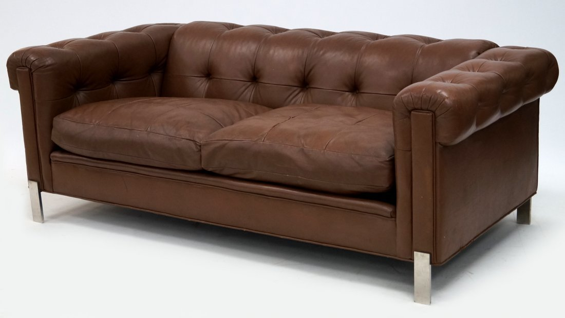 LEATHER CHESTERFIELD SOFA, ATTRIBUTED TO LEON ROSEN