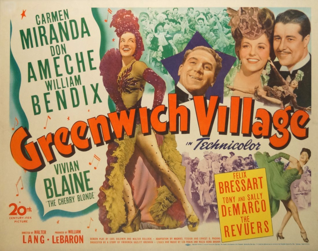 "VINTAGE LITHOGRAPHIC MOVIE POSTER, ""GREENWICH VILLAGE"","