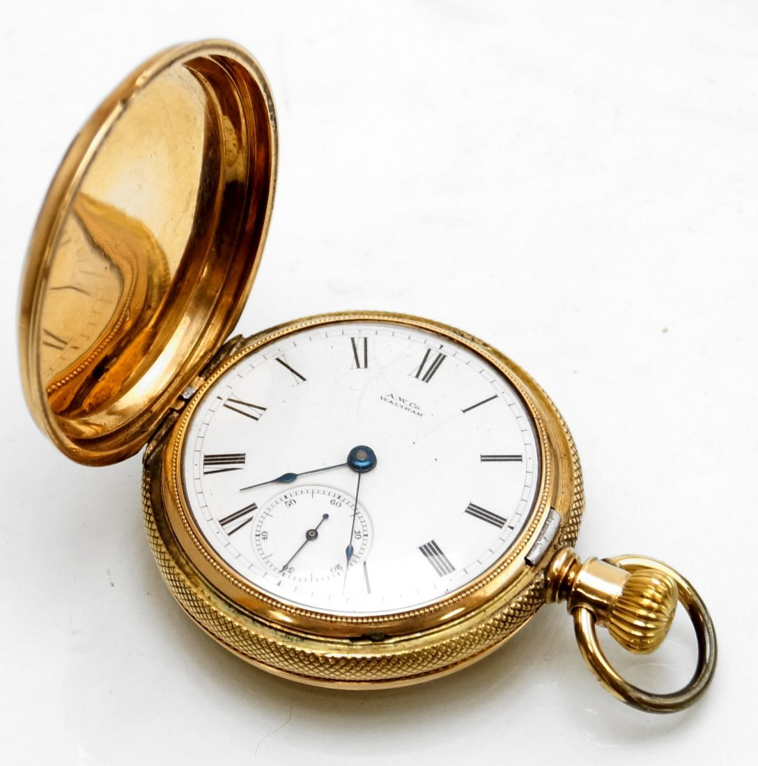 A.W.C. WALTHAM 14K HUNTER-CASE POCKET WATCH WITH P.S.