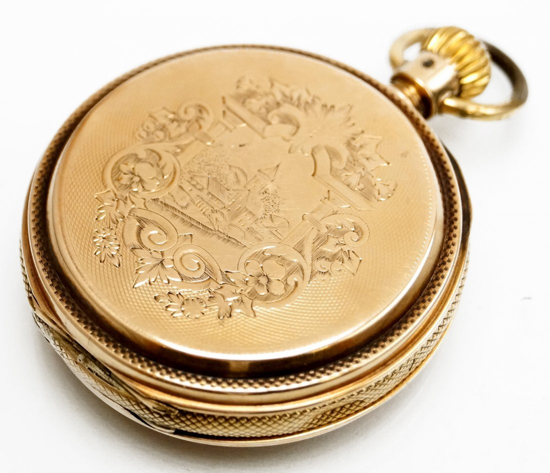 A.W.C. WALTHAM 14K HUNTER-CASE POCKET WATCH WITH P.S. - 2
