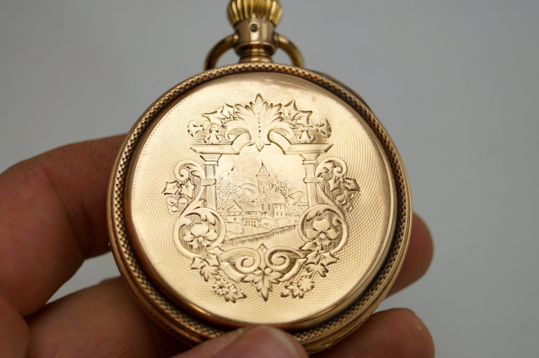 A.W.C. WALTHAM 14K HUNTER-CASE POCKET WATCH WITH P.S. - 3