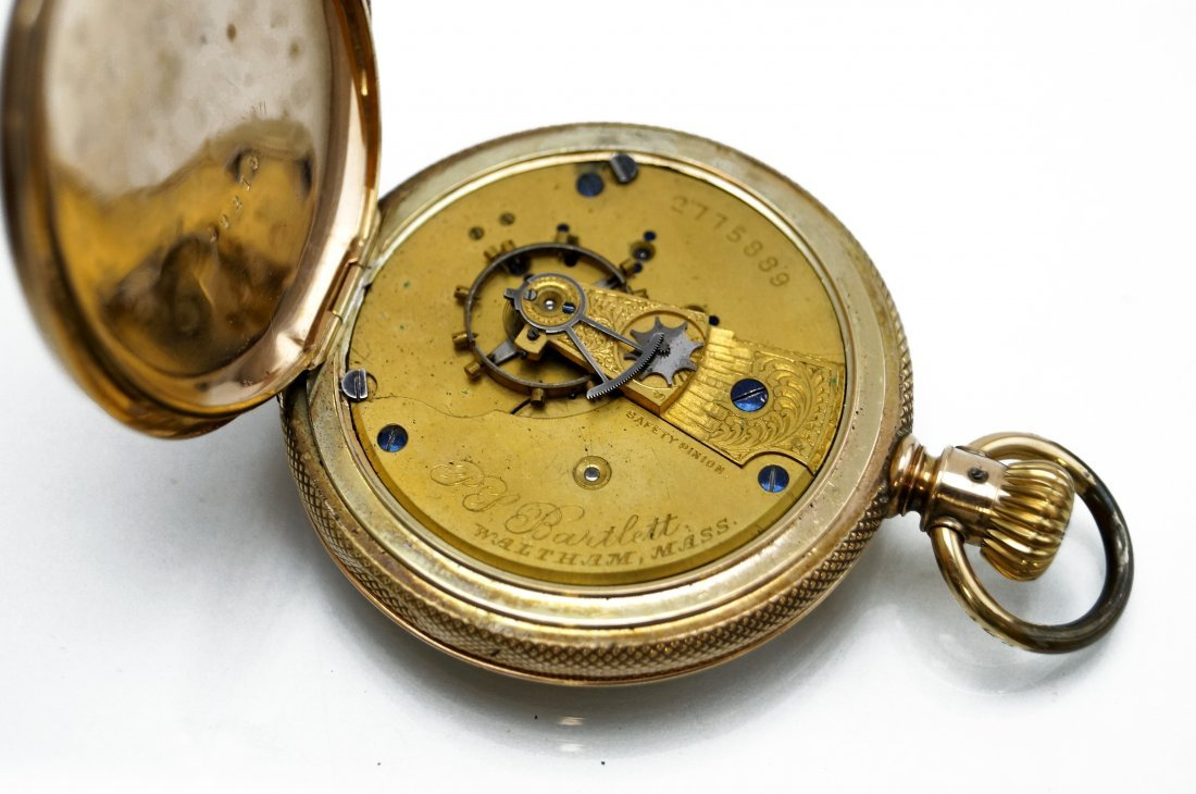 A.W.C. WALTHAM 14K HUNTER-CASE POCKET WATCH WITH P.S. - 4