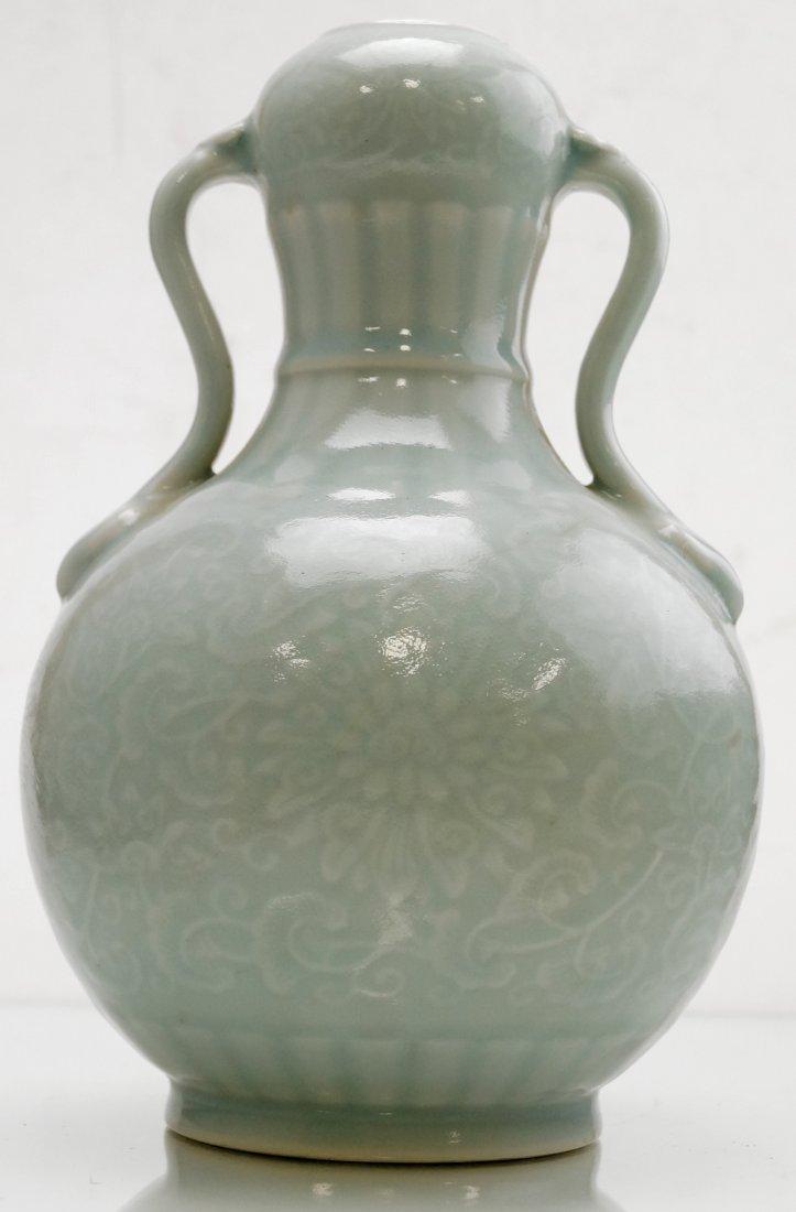 CHINESE CELADON PORCELAIN DOUBLE-HANDLE VASE, BEARING