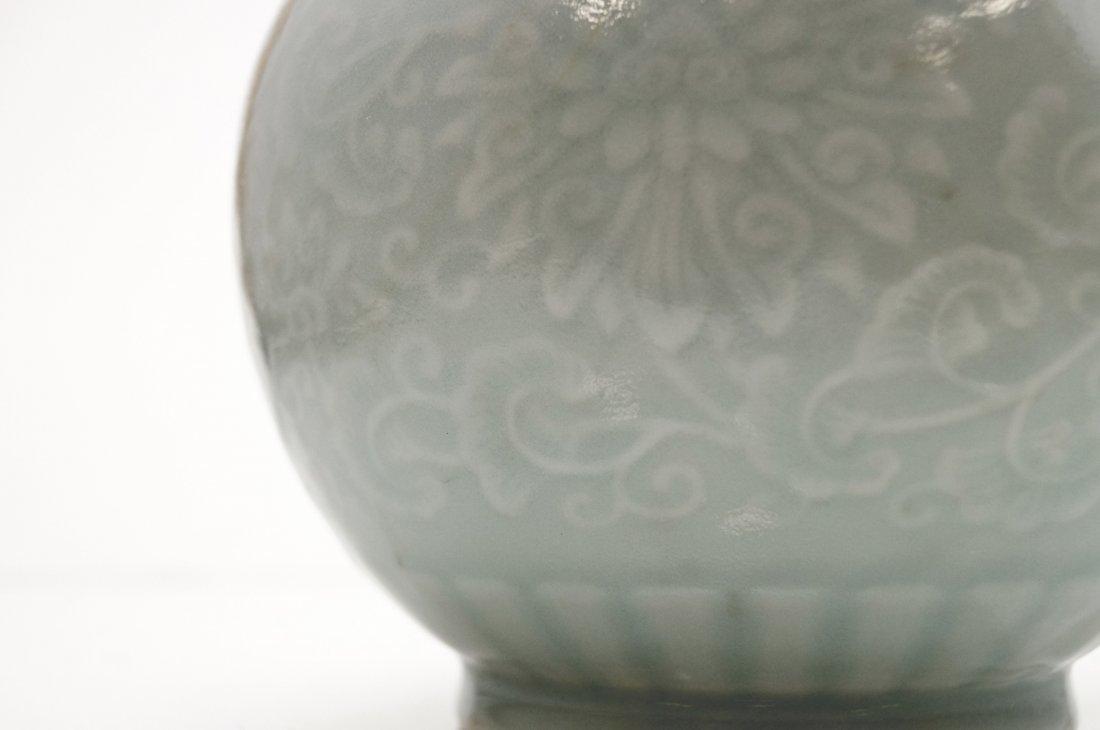 CHINESE CELADON PORCELAIN DOUBLE-HANDLE VASE, BEARING - 2