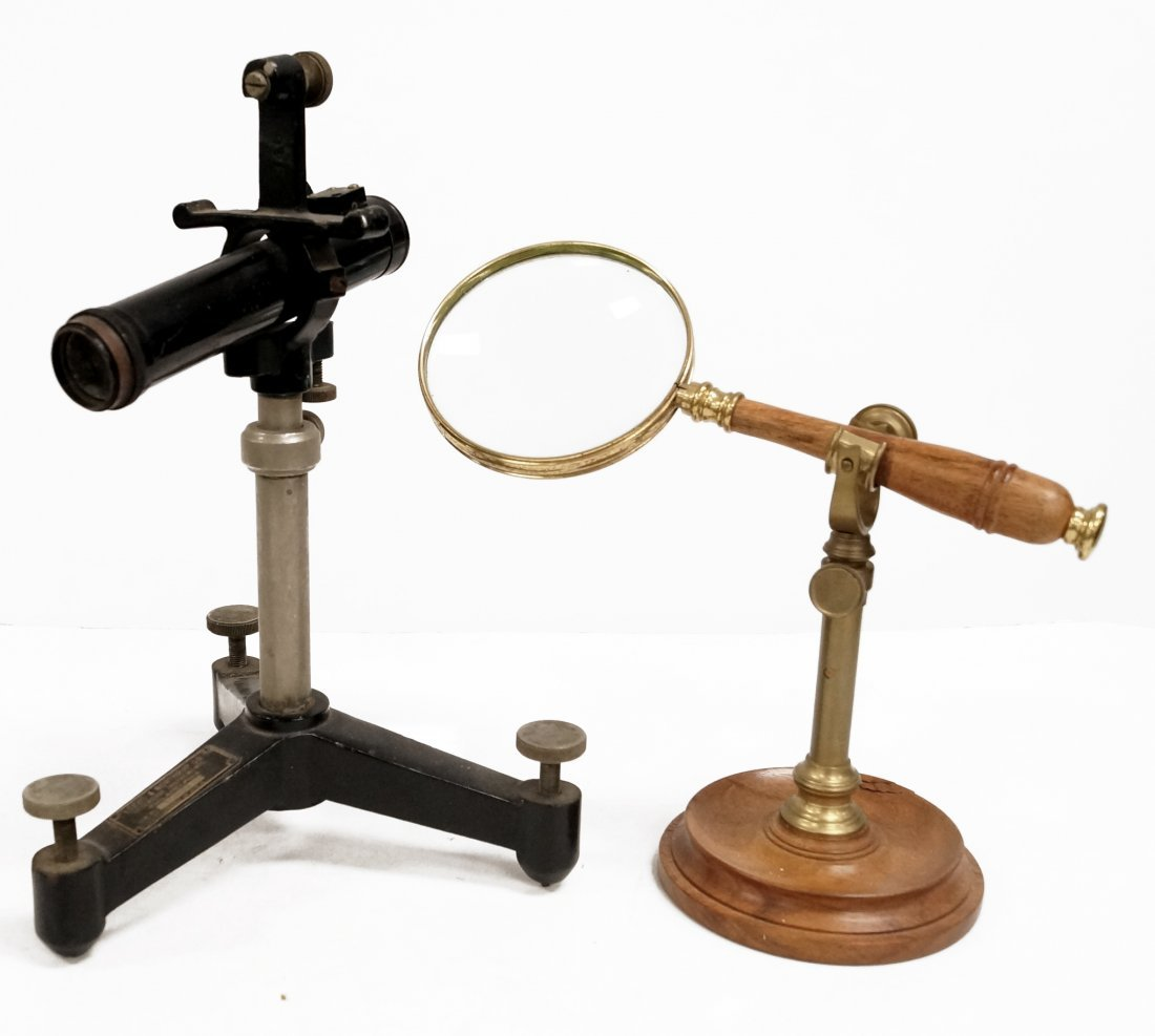 LOT (2) MAGNIFYING INSTRUMENTS INCLUDING STAND MOUNTED