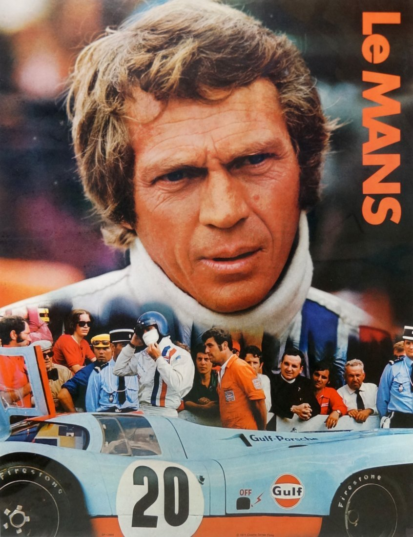 """ORIGINAL US GULF PROMOTIONAL MOVIE POSTER, """"LE MANS"""","""