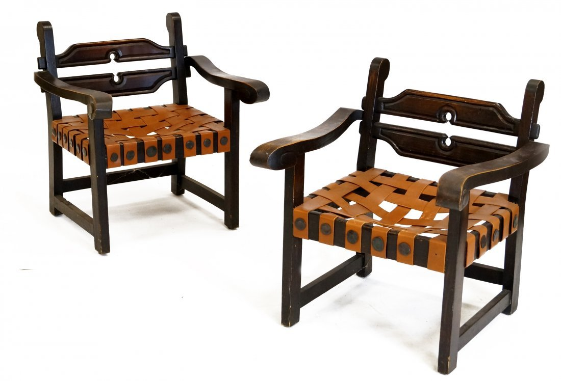 PAIR MEXICAN CARVED ARMCHAIRS WITH LEATHER STRAP SEATS